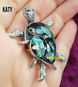 Mother and Baby Turtle Tortoise Crystal Brooch Abalone Shell Vintage Silver Pin