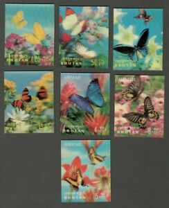 AOP Bhutan 3D stamps 1968 Butterflies 7v
