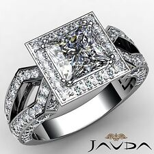 Halo Pave Set Princess Diamond Engagement Ring GIA G VS1 18k White Gold 2.88ct