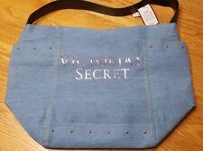NWT Victorias Secret Logo Pink Stud Blue Denim Shoulder Tote Hobo Purse Bag NEW