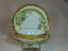 O. & E. G. Royal Austria Soup Cup and Saucer Floral Wide Gold Band and Trim
