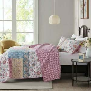 NEW! ~  COZY COTTAGE CHIC PINK BLUE WHITE PATCHWORK SHABBY COUNTRY QUILT SET