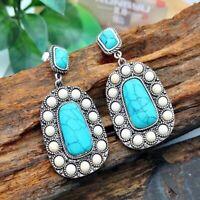 Vintage 925 Silver Turquoise Ear Stud Hoop Dangle Earrings Wedding Women Jewelry