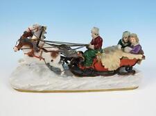 LARGE Scheibe-Alsbach Russian Sleigh Figurine German Porcelain Troika Dresden