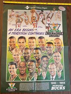 HTF orig VINTAGE 1992-93 NBA MILWAUKEE BUCKS 25th ANNIVERSARY TEAM POSTER *RARE*