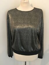 Vintage Pierre Cardin Metallic Disco Blouse Top Size L Euc Made In Usa