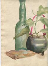 VINTAGE WINE BOTTLE CORK VASE IMPRESSIONISM GARDEN PLANT STILL LIFE W/C PAINTING