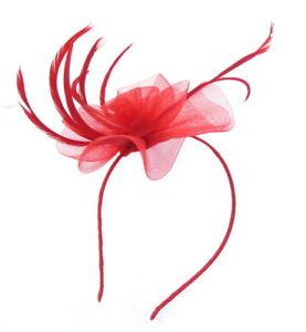 Fascinator red swirl on a headband Weddings, Races, Ladies Day