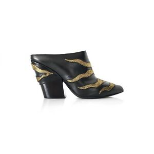 Louis Vuitton Black Gold LeatherFireballPointed ToeMules Heels Boots 39
