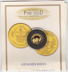 2000 MONGOLIA GOLD 500 TUGRIK GENGHIS KHAN IN MINT CONDITION WITH CERTIFICATE