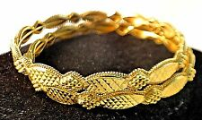 21kt SOLID GOLD BANGLE CUFF BRACELETS, PAIR OF 2
