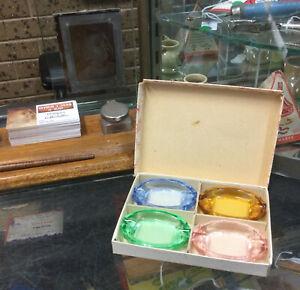 Vintage Coloured Ashtrays In Box One Uranium