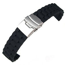Black Silicon Strap Waterproof Watchband Diving Belt Clasp 20 mm LW