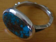 NR Vintage Persian Turquoise (Neyshabur) Fine Silver Hand Made Ring - UK Size L