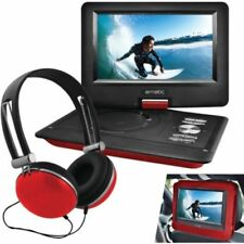 """Ematic EPD116RD DVD Player w/ Headphones and Car Headrest Mount,10"""" Screen - Red"""