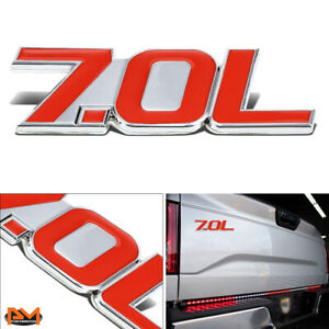 """""""7.0L"""" Polished Metal 3D Decal Red&Silver Emblem For Chevrolet/Saleen/Ford"""