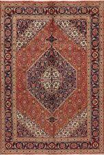 Excellent Geometric Orange Tebriz Area Rug Hand-Knotted Wool Living Room 7'x10'
