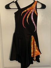 New ListingFigure Skating Dress, Black with Fiery Multicolored Spikes, Child M