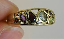 9ct Gold  MULTIGEM AMETHYST TOPAZ PERIDOT GARNET DIAMOND Ring Size O 1/2 Hm