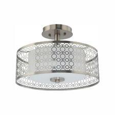 Toberon 14 in. 1-Light Brushed Nickel LED Semi Flush Mount Ceiling Light by  HDC