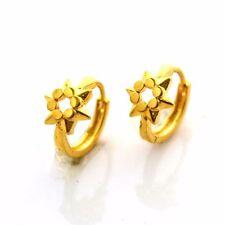 Women 24k Yellow Gold Filled Earrings 14mm Flower Hoop GF Charm Fashion Jewelry