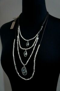 """NWT UNO De 50 Grey Elements Crystal Long 4 Strand 2 Sided """"And Yes"""" Necklace"""