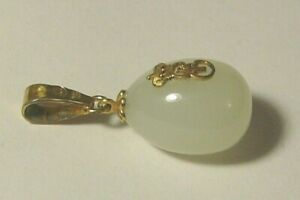 Egg Pendant White Nephritis Jade Silver 84 Imperial Russia Gilding