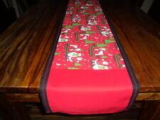 """Christmas, festive homemade santa sledge, reindeer, design table runner 12""""x 74"""""""