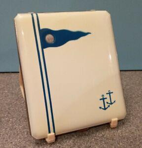 Lovely Unusual Vaneve Art Deco Era Nautical Enamel Powder Compact