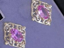 E028- Genuine 9ct 9K Yellow Gold NATURAL Pink Tourmaline Filigree Stud Earrings