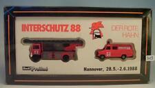 Praline 1/87 Set Interschutz 88 der rore Hahn MB & Ford Transit Feuerwehr  #313