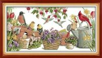 Maydear Cross Stitch Stamped Kits, Embroidery Kits - Birds Gather in Garden