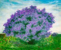 Lilac Bush Oil Painting Floral Art Landscape Meadow Flowers Claude Monet Style