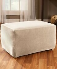 Sure Fit Stretch Stripe Ottoman Slipcover - Sand