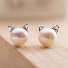 925 Sterling Silver Trendy Chic Pearl Cat Kitten Head Ear Stud Party  Earrings