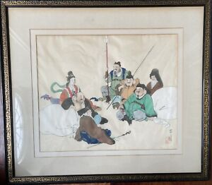 ANTIQUE KOREAN PAINTING WiTH FRAME ON SILK