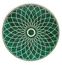 "48"" Marble Table Top Semi Precious Stone Malachite Inlay Handmade Work"