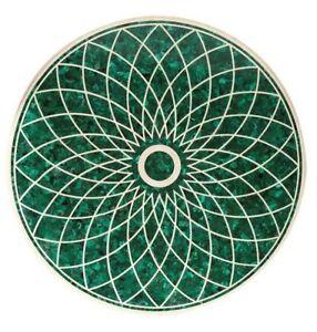"48"" Marble Center Table Top Semi Precious Stone Malachite Inlay Handmade Work"