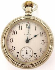 `1913 ELGIN 18S 7J SILVERODE LARGE HEAVY SET POCKET WATCH. WORKS, NEEDS SERVICE!