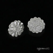 2 Sterling Silver Flower Button Pendant Charm Beads #51429
