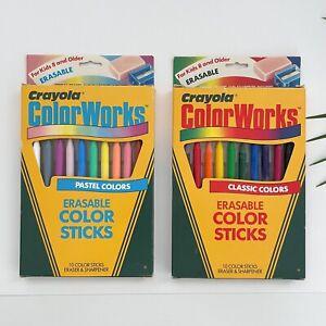 VTG 1988 Crayola ColorWorks Erasable Color Sticks Classic & Pastel Colors NEW