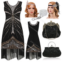 1920s Flapper Dress Vintage Gatsby Charleston Black Party 20s Costume 8 10 14 16