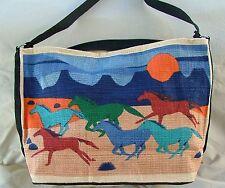 Purse Western Design Horses on a Sunset Gallop Cotton Stencil Zipper Closure