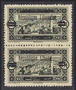 """LEBANON 1927 """"REPUBLIQUE LIBANA"""" ERROR IN PAIR W/ NORMAL S.G. 108 UNUSED NO GUM"""