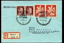 1943 WHW und Hitler 15 Pfg. je im Paar auf R-Brief mit SST von HANAU  Mi# 859