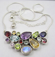 """925 Solid Silver Natural MULTISTONE COLORFUL Snake Chain Necklace 18 1/4"""""""