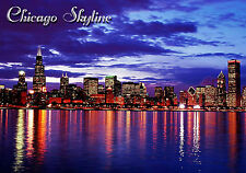 MAGNE Travel Chicago Skyline Illinois Lake Mighigan Night Lights Free Shipping