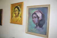 Retro Vintage Pair Of Tretchikoff Era/style Original signed Oil Paintings
