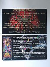 Spiderman Spider-Man Stern Pinball Apron Instruction Cards