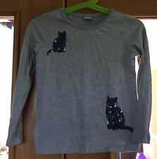 Girls Grey Cat Sequin Long Sleeved T-shirt Size 3 Years